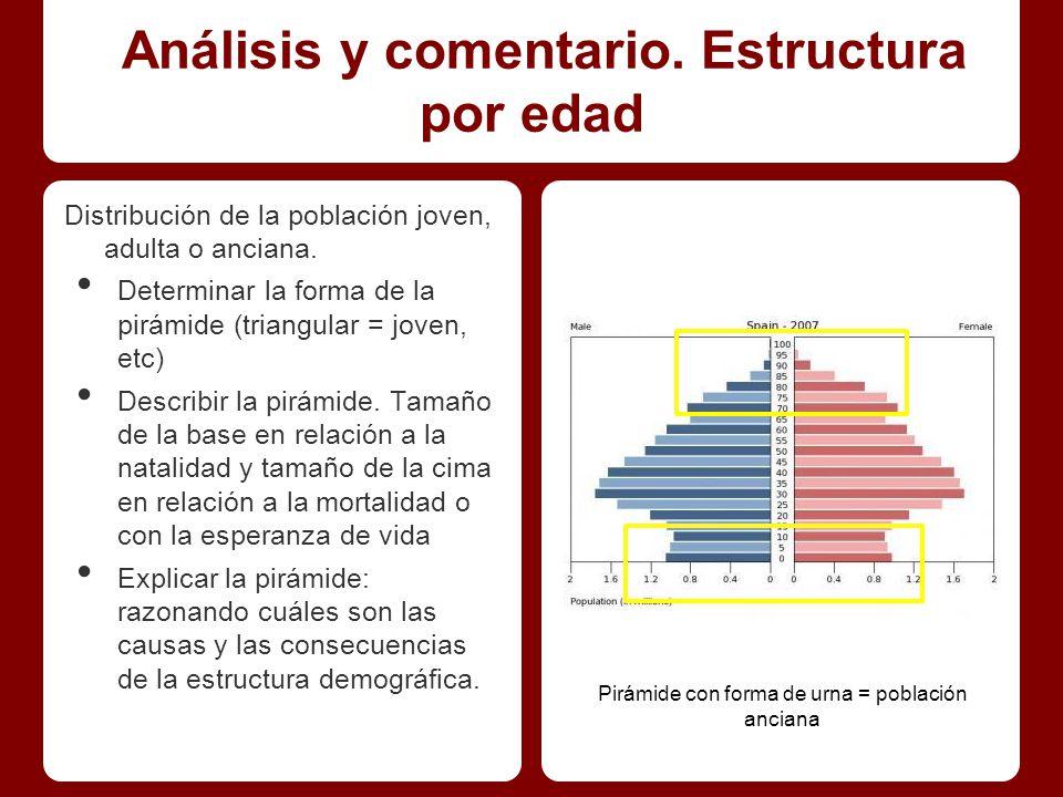 Análisis y comentario.Estructura por edad Distribución de la población joven, adulta o anciana.