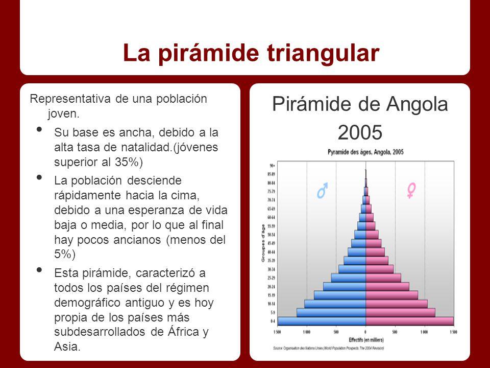 La pirámide triangular Representativa de una población joven.