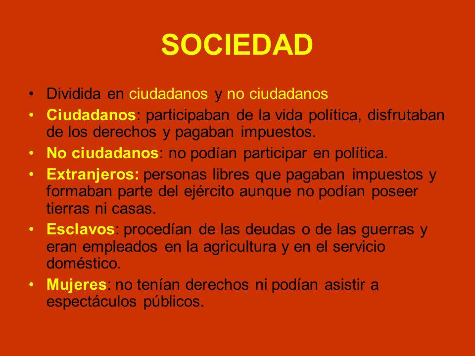 SOCIEDAD Dividida en ciudadanos y no ciudadanos Ciudadanos: participaban de la vida política, disfrutaban de los derechos y pagaban impuestos. No ciud