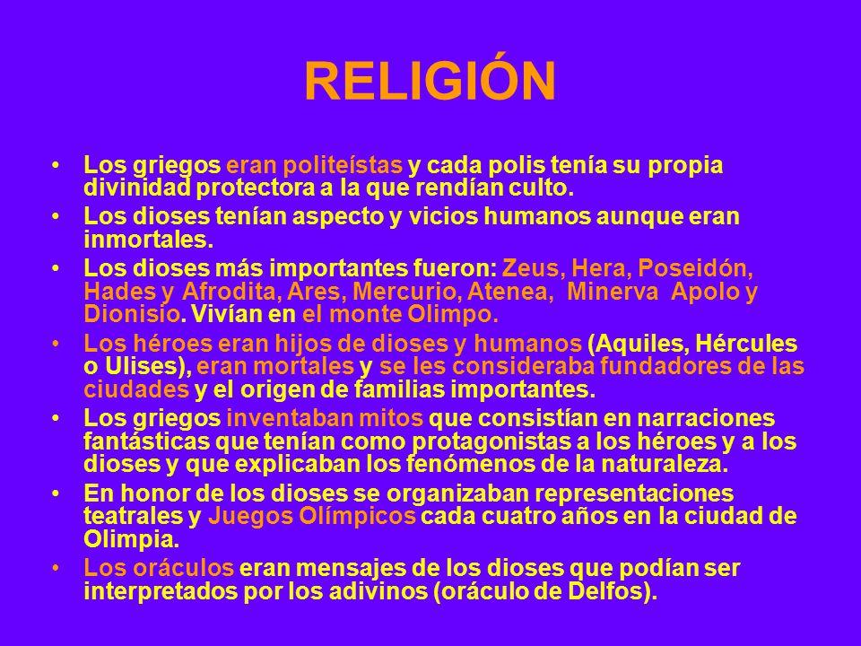 RELIGIÓN Los griegos eran politeístas y cada polis tenía su propia divinidad protectora a la que rendían culto. Los dioses tenían aspecto y vicios hum