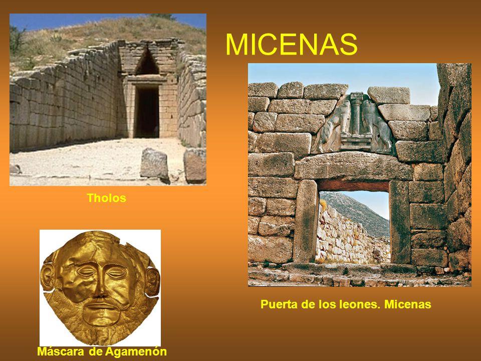 MICENAS Puerta de los leones. Micenas Máscara de Agamenón Tholos