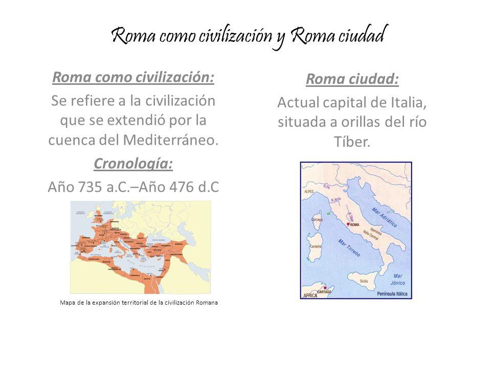 Roma como civilización y Roma ciudad Roma como civilización: Se refiere a la civilización que se extendió por la cuenca del Mediterráneo. Cronología: