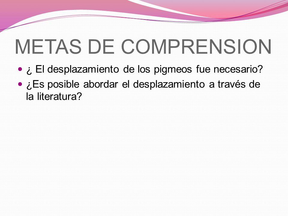 METAS DE COMPRENSION ¿ El desplazamiento de los pigmeos fue necesario? ¿Es posible abordar el desplazamiento a través de la literatura?