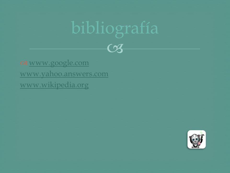 www.google.com www.yahoo.answers.com www.wikipedia.org bibliografía