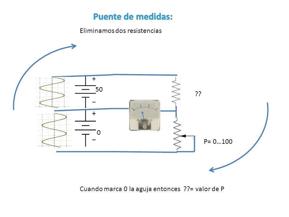 Eliminamos dos resistencias ?? P= 0…100 50 Cuando marca 0 la aguja entonces ??= valor de P