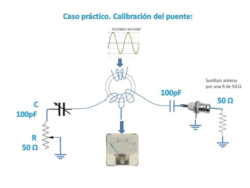 Oscilador senoidal Sustituir antena por una R de 50