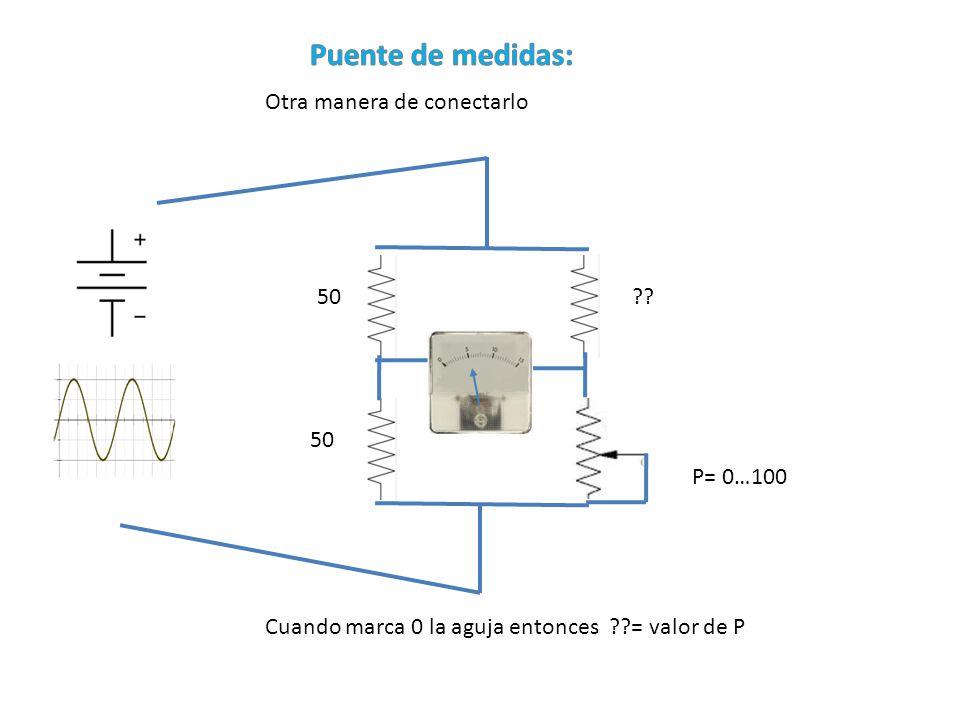 Otra manera de conectarlo ?? P= 0…100 50 Cuando marca 0 la aguja entonces ??= valor de P
