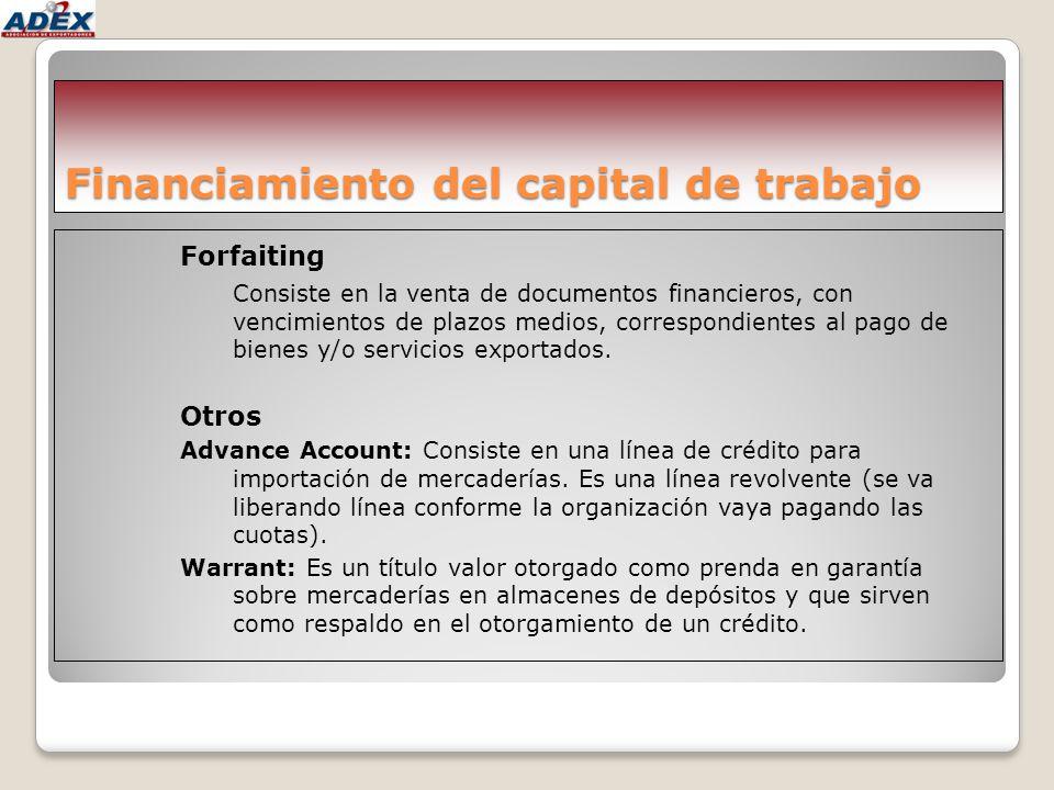 Financiamiento del capital de trabajo Forfaiting Consiste en la venta de documentos financieros, con vencimientos de plazos medios, correspondientes a