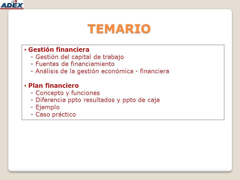 TEMARIO Gestión financiera - Gestión del capital de trabajo - Fuentes de financiamiento - Análisis de la gestión económica - financiera Plan financier