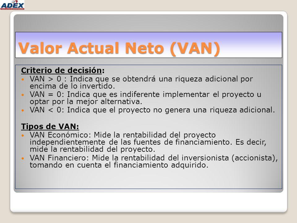 Valor Actual Neto (VAN) Criterio de decisión: VAN > 0 : Indica que se obtendrá una riqueza adicional por encima de lo invertido. VAN = 0: Indica que e