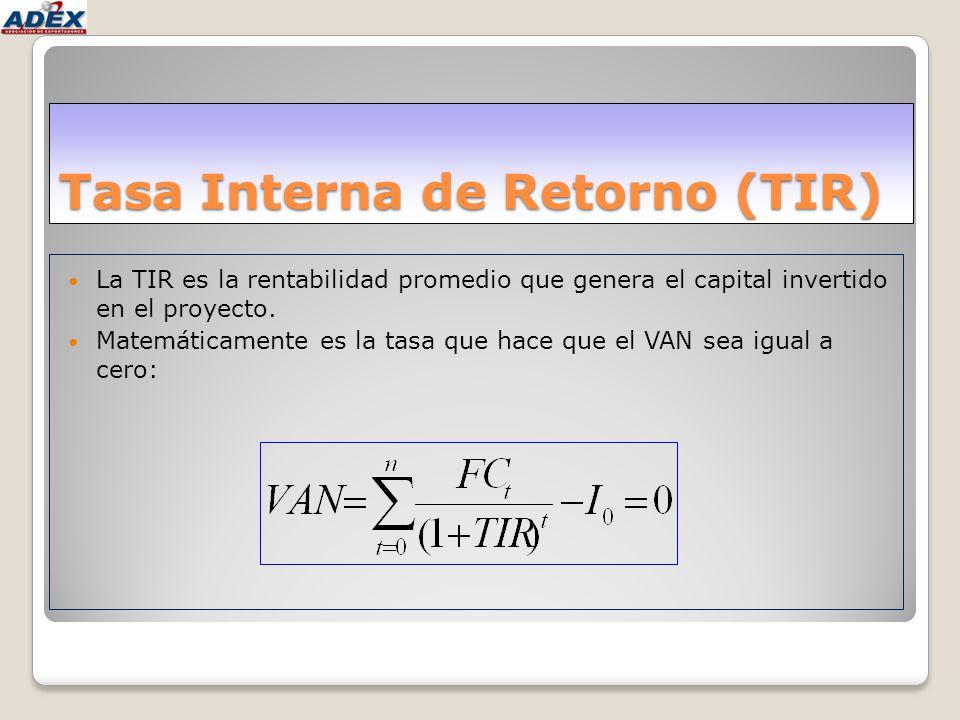 Tasa Interna de Retorno (TIR) La TIR es la rentabilidad promedio que genera el capital invertido en el proyecto. Matemáticamente es la tasa que hace q
