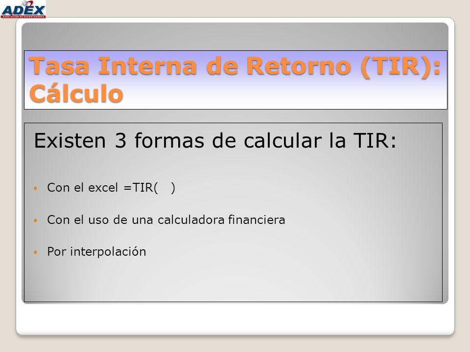 Tasa Interna de Retorno (TIR): Cálculo Existen 3 formas de calcular la TIR: Con el excel =TIR( ) Con el uso de una calculadora financiera Por interpol