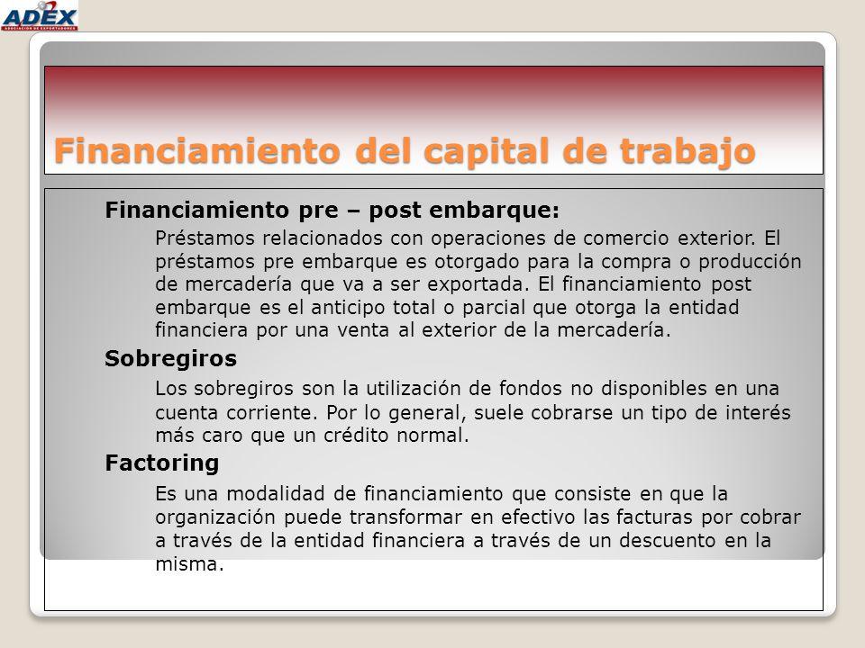 Financiamiento del capital de trabajo Financiamiento pre – post embarque: Préstamos relacionados con operaciones de comercio exterior. El préstamos pr