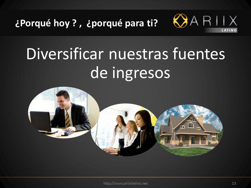 Diversificar nuestras fuentes de ingresos http://www.ariixlatino.net13 ¿Porqué hoy ?, ¿porqué para ti?
