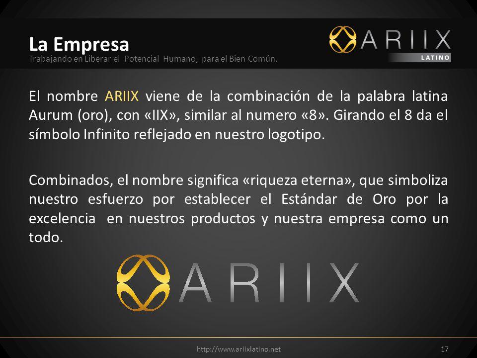 El nombre ARIIX viene de la combinación de la palabra latina Aurum (oro), con «IIX», similar al numero «8». Girando el 8 da el símbolo Infinito reflej