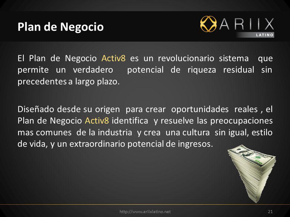 El Plan de Negocio Activ8 es un revolucionario sistema que permite un verdadero potencial de riqueza residual sin precedentes a largo plazo. Diseñado
