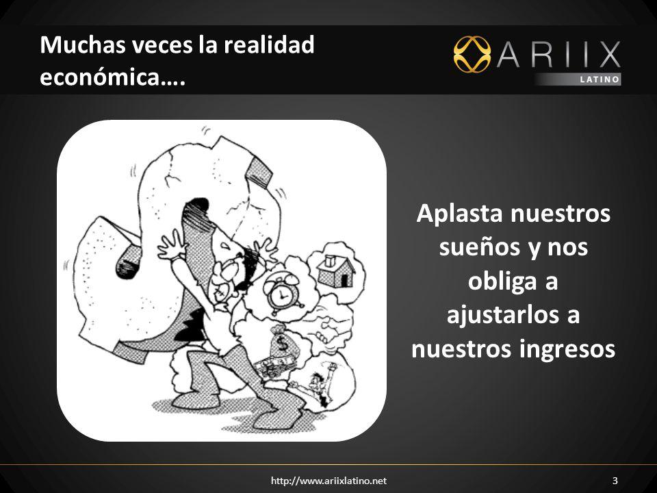 http://www.ariixlatino.net3 Muchas veces la realidad económica…. Aplasta nuestros sueños y nos obliga a ajustarlos a nuestros ingresos