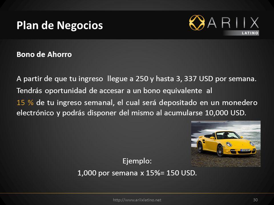 Bono de Ahorro A partir de que tu ingreso llegue a 250 y hasta 3, 337 USD por semana.