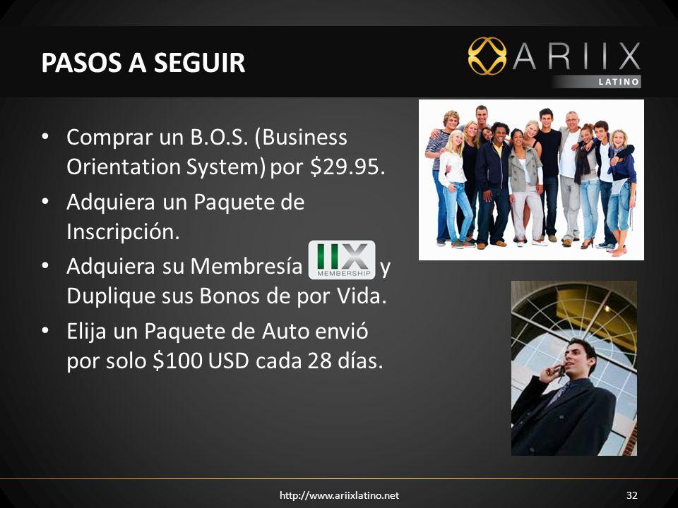 Comprar un B.O.S. (Business Orientation System) por $29.95. Adquiera un Paquete de Inscripción. Adquiera su Membresía y Duplique sus Bonos de por Vida