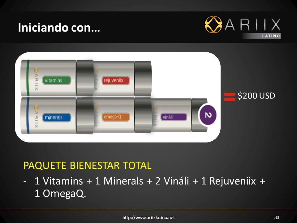 http://www.ariixlatino.net33 Iniciando con… $200 USD PAQUETE BIENESTAR TOTAL -1 Vitamins + 1 Minerals + 2 Vináli + 1 Rejuveniix + 1 OmegaQ.