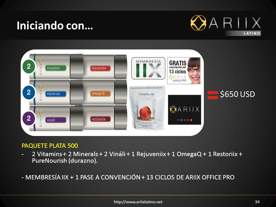 PAQUETE PLATA 500 -2 Vitamins + 2 Minerals + 2 Vináli + 1 Rejuveniix + 1 OmegaQ + 1 Restoriix + PureNourish (durazno). - MEMBRESÍA IIX + 1 PASE A CONV