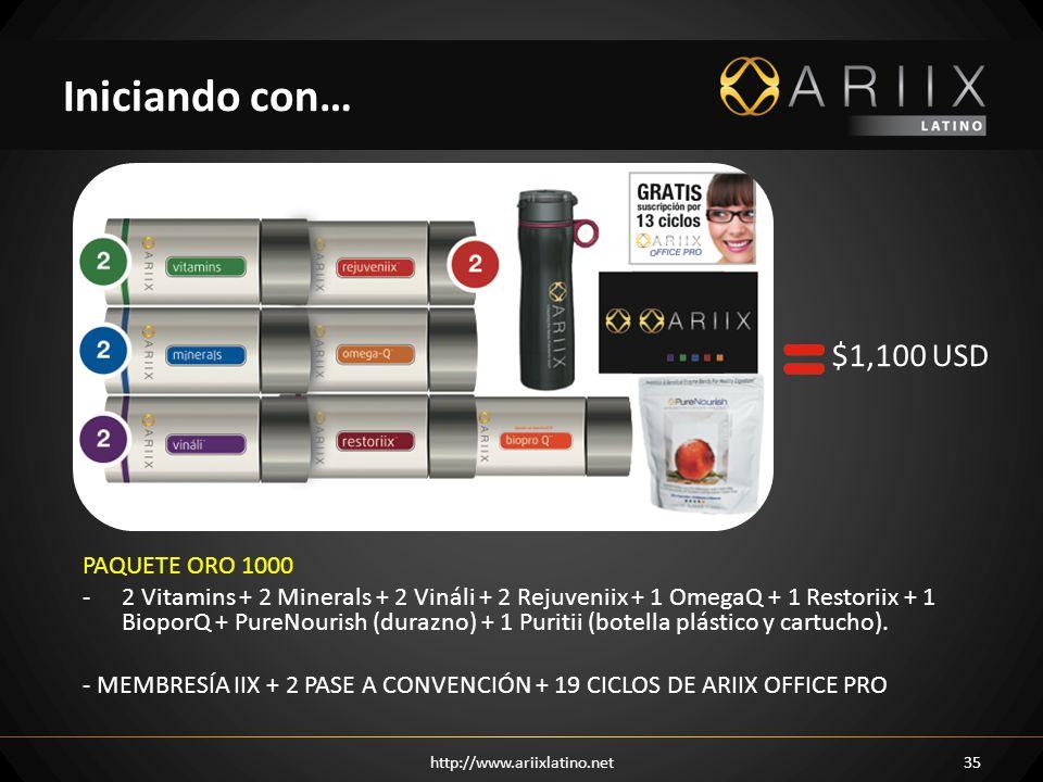 http://www.ariixlatino.net35 Iniciando con… PAQUETE ORO 1000 -2 Vitamins + 2 Minerals + 2 Vináli + 2 Rejuveniix + 1 OmegaQ + 1 Restoriix + 1 BioporQ + PureNourish (durazno) + 1 Puritii (botella plástico y cartucho).