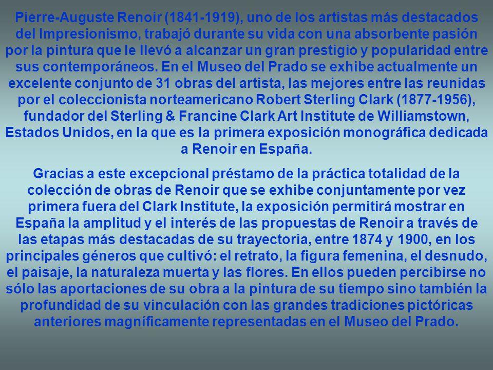 Pierre-Auguste Renoir (1841-1919), uno de los artistas más destacados del Impresionismo, trabajó durante su vida con una absorbente pasión por la pintura que le llevó a alcanzar un gran prestigio y popularidad entre sus contemporáneos.