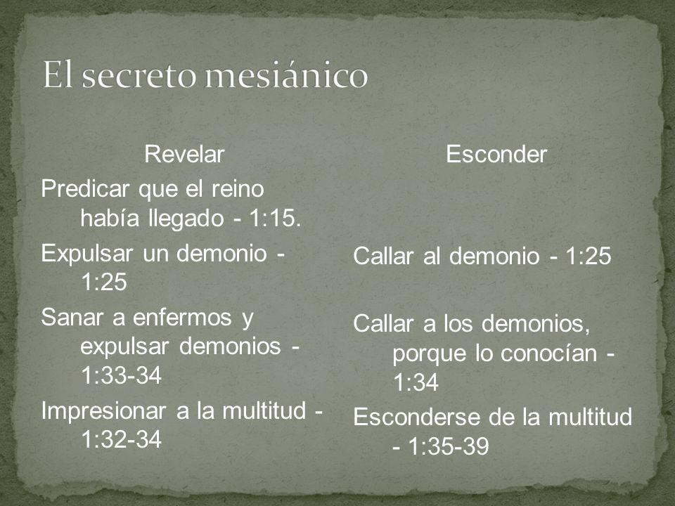 Revelar Predicar que el reino había llegado - 1:15. Expulsar un demonio - 1:25 Sanar a enfermos y expulsar demonios - 1:33-34 Impresionar a la multitu