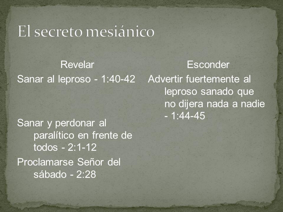 Revelar Sanar al leproso - 1:40-42 Sanar y perdonar al paralítico en frente de todos - 2:1-12 Proclamarse Señor del sábado - 2:28 Esconder Advertir fu