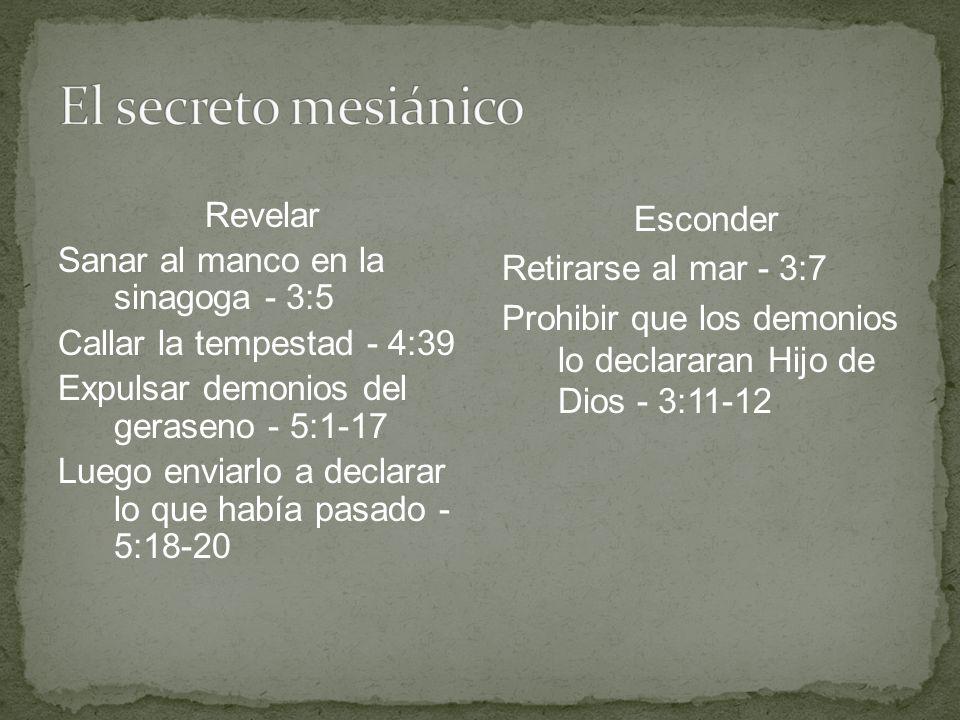 Revelar Sanar al manco en la sinagoga - 3:5 Callar la tempestad - 4:39 Expulsar demonios del geraseno - 5:1-17 Luego enviarlo a declarar lo que había