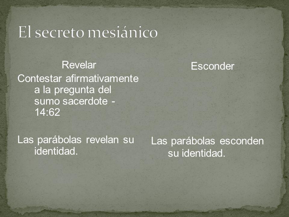 Revelar Contestar afirmativamente a la pregunta del sumo sacerdote - 14:62 Las parábolas revelan su identidad. Esconder Las parábolas esconden su iden