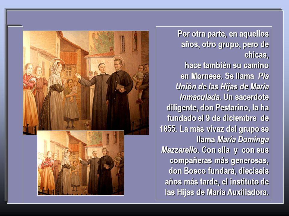La Inmaculada está también presente en el origen de las dos congregaciones salesianas. Domingo, el joven que se ha consagrado a Ella el 8 de diciembre