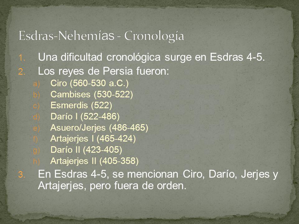 1. Una dificultad cronológica surge en Esdras 4-5. 2. Los reyes de Persia fueron: a) Ciro (560-530 a.C.) b) Cambises (530-522) c) Esmerdis (522) d) Da