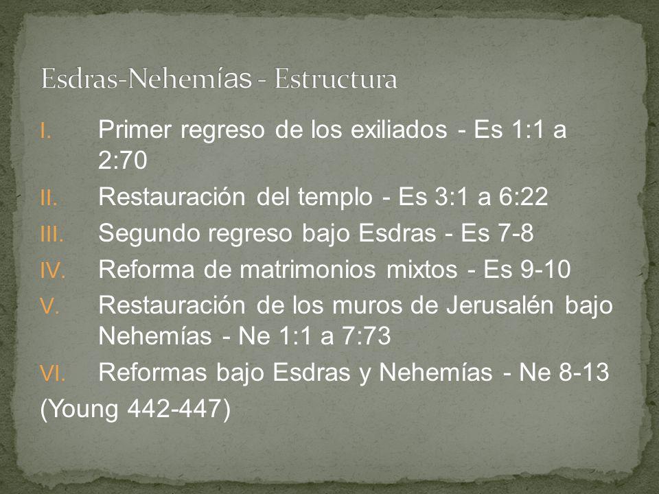 I. Primer regreso de los exiliados - Es 1:1 a 2:70 II. Restauración del templo - Es 3:1 a 6:22 III. Segundo regreso bajo Esdras - Es 7-8 IV. Reforma d