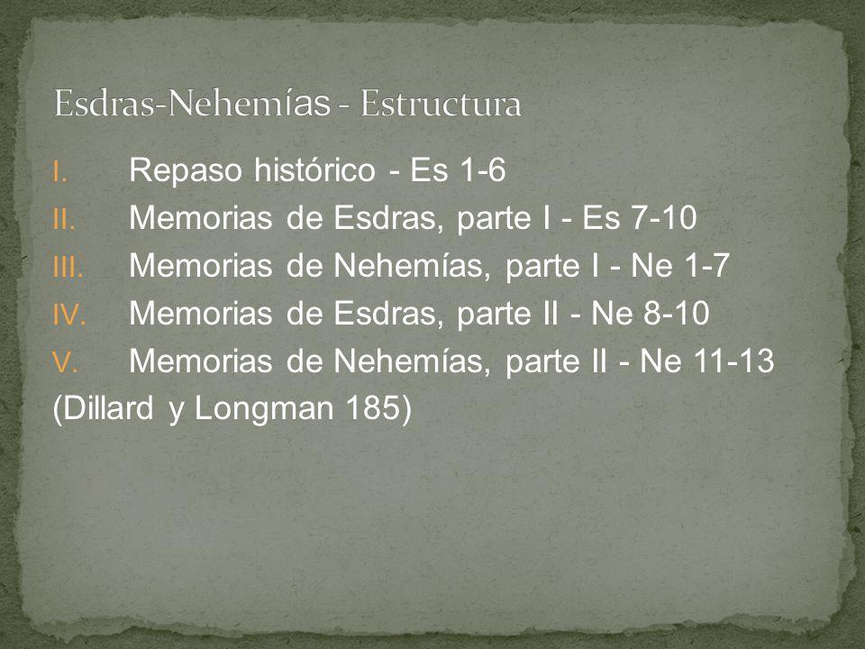 I. Repaso histórico - Es 1-6 II. Memorias de Esdras, parte I - Es 7-10 III. Memorias de Nehemías, parte I - Ne 1-7 IV. Memorias de Esdras, parte II -