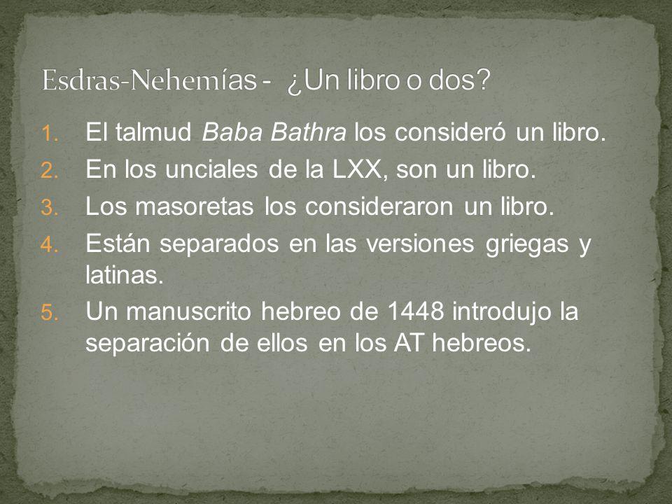 1. El talmud Baba Bathra los consideró un libro. 2. En los unciales de la LXX, son un libro. 3. Los masoretas los consideraron un libro. 4. Están sepa