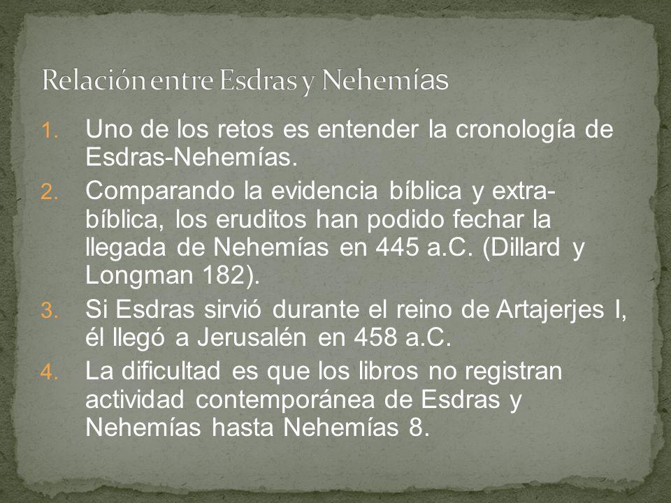 1. Uno de los retos es entender la cronología de Esdras-Nehemías. 2. Comparando la evidencia bíblica y extra- bíblica, los eruditos han podido fechar