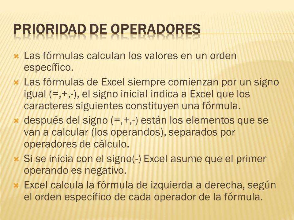 Las fórmulas calculan los valores en un orden específico. Las fórmulas de Excel siempre comienzan por un signo igual (=,+,-), el signo inicial indica