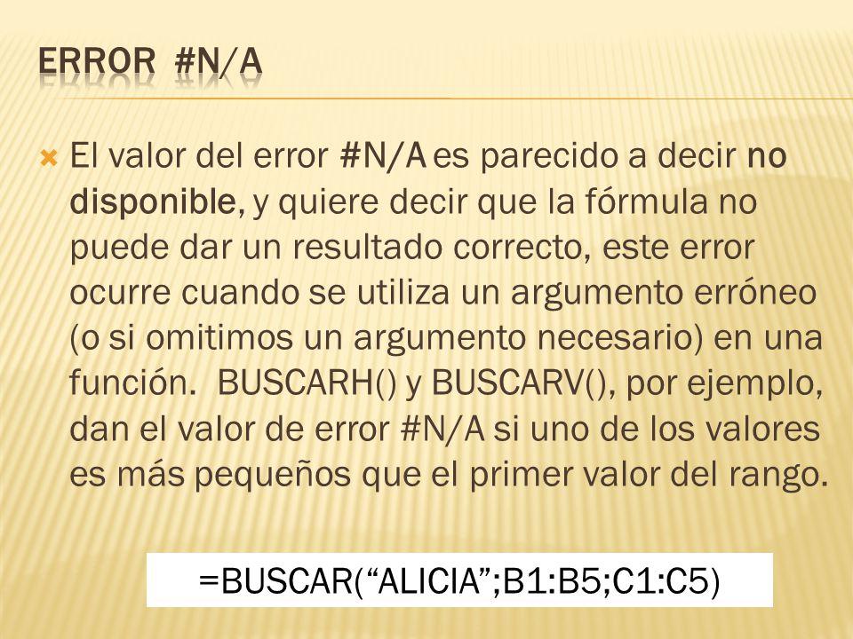 El valor del error #N/A es parecido a decir no disponible, y quiere decir que la fórmula no puede dar un resultado correcto, este error ocurre cuando se utiliza un argumento erróneo (o si omitimos un argumento necesario) en una función.