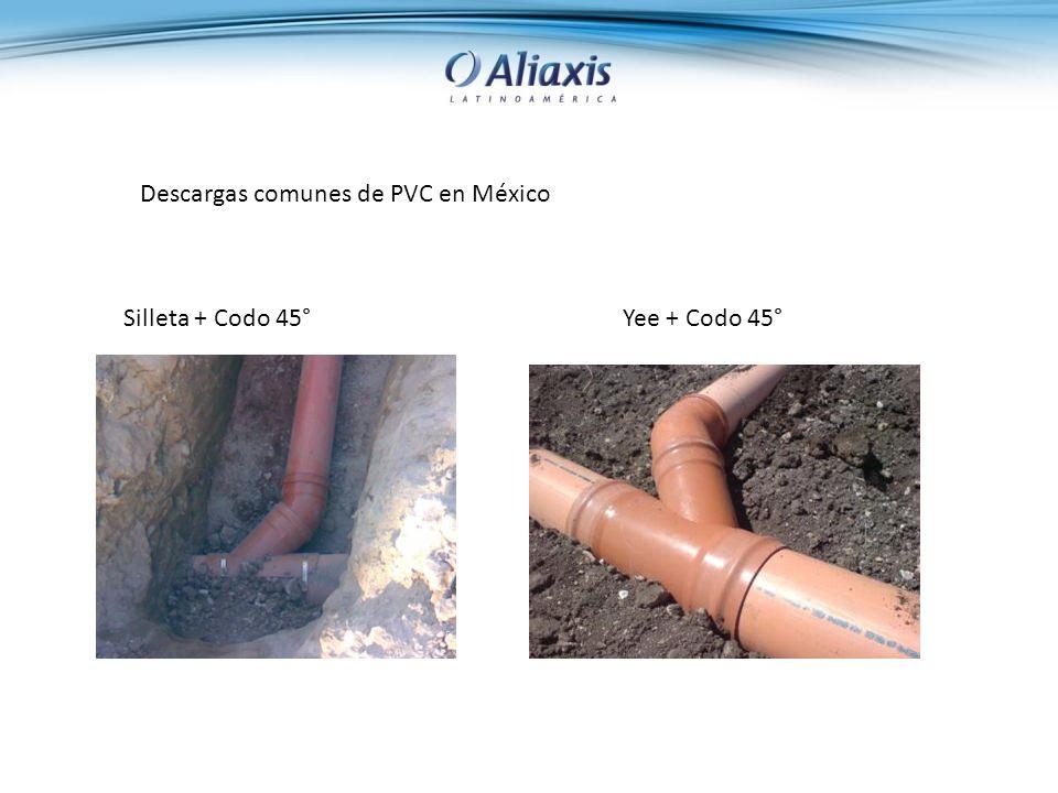 Descargas comunes de PVC en México Silleta + Codo 45°Yee + Codo 45°