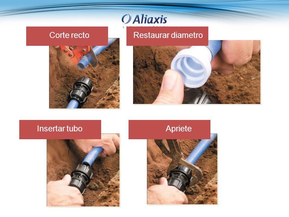 Corte rectoRestaurar diametro Insertar tuboApriete