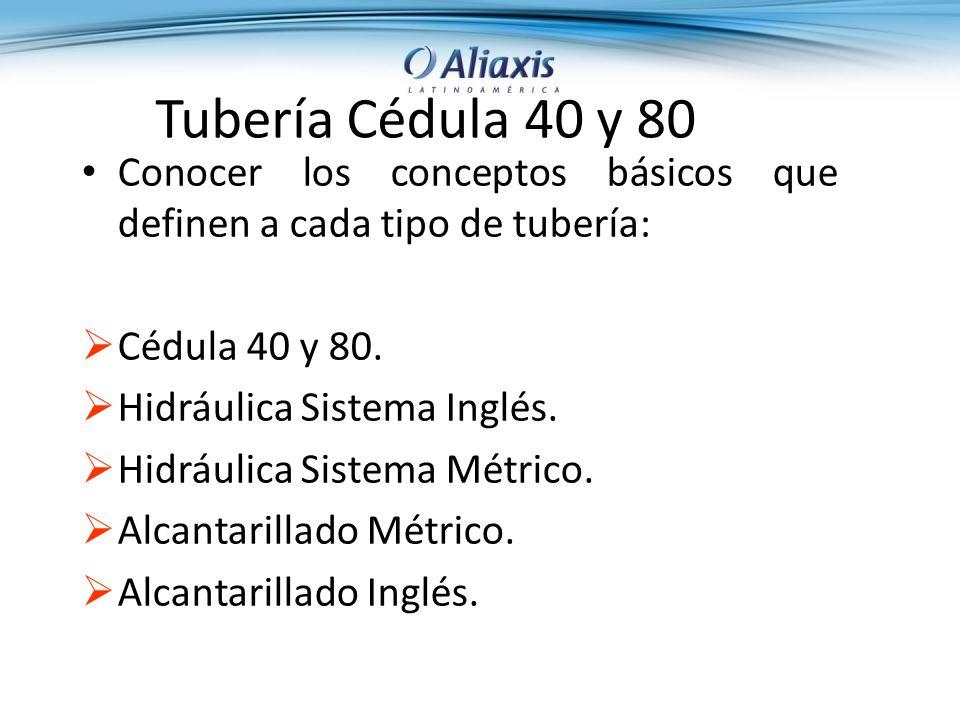 Conocer los conceptos básicos que definen a cada tipo de tubería: Cédula 40 y 80.