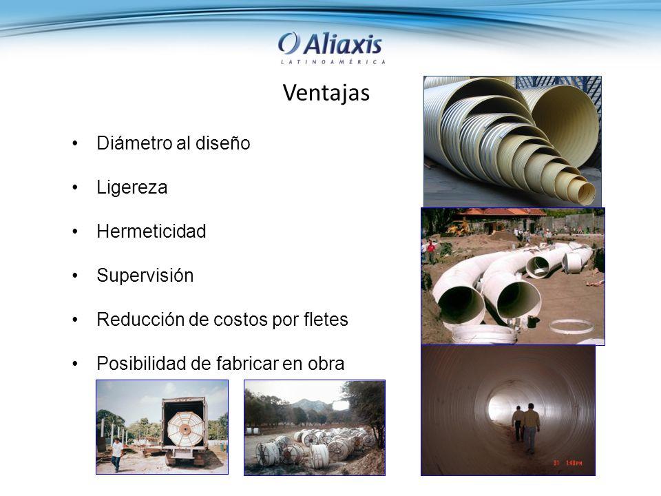 Ventajas Diámetro al diseño Ligereza Hermeticidad Supervisión Reducción de costos por fletes Posibilidad de fabricar en obra