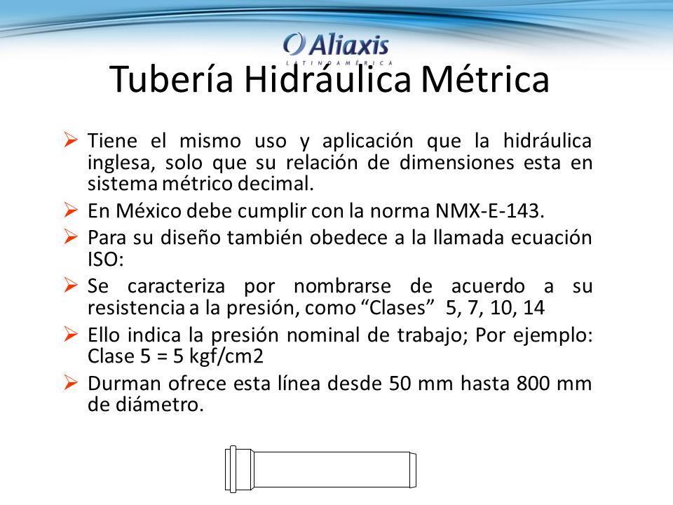 Tubería Hidráulica Métrica Tiene el mismo uso y aplicación que la hidráulica inglesa, solo que su relación de dimensiones esta en sistema métrico decimal.