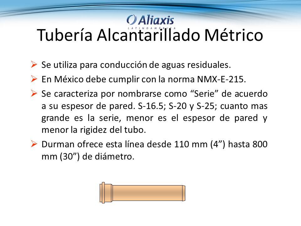 Tubería Alcantarillado Métrico Se utiliza para conducción de aguas residuales.