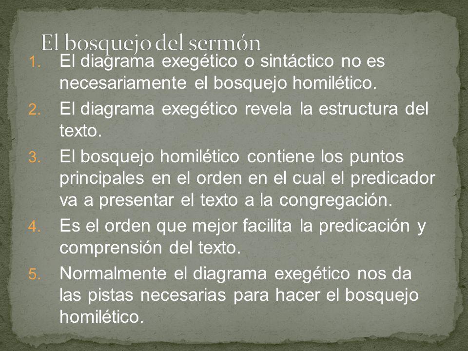 1. El diagrama exegético o sintáctico no es necesariamente el bosquejo homilético. 2. El diagrama exegético revela la estructura del texto. 3. El bosq