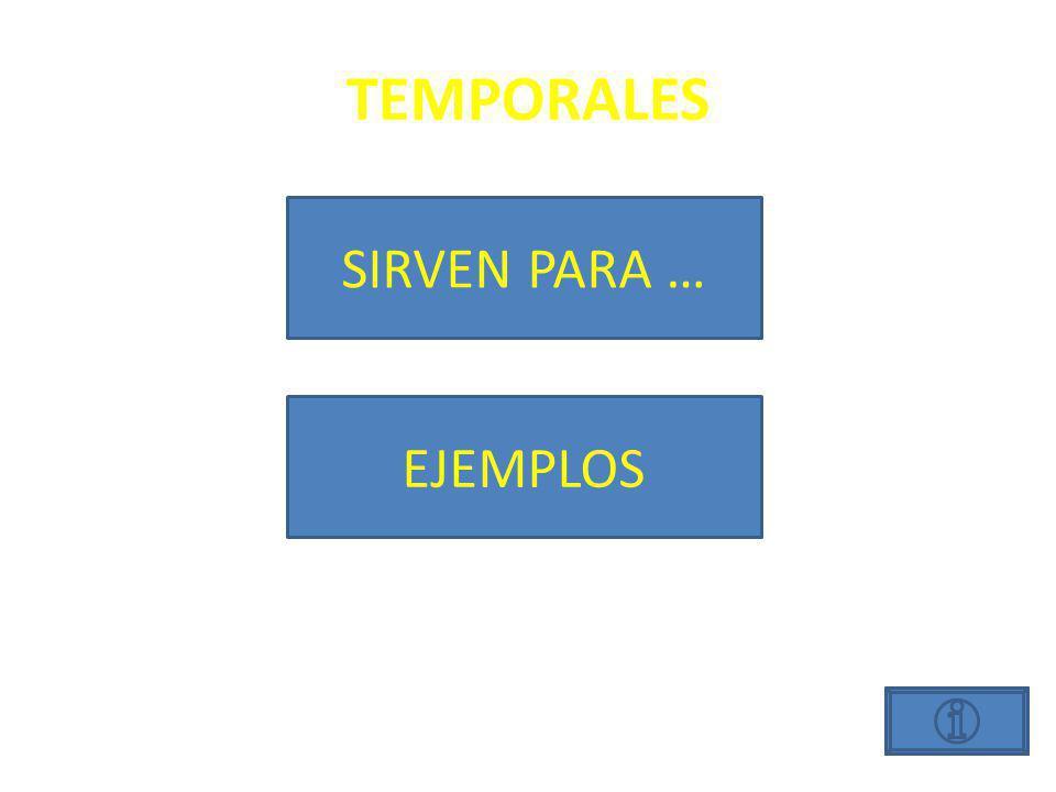TEMPORALES SIRVEN PARA… Indicar un momento en el tiempo.