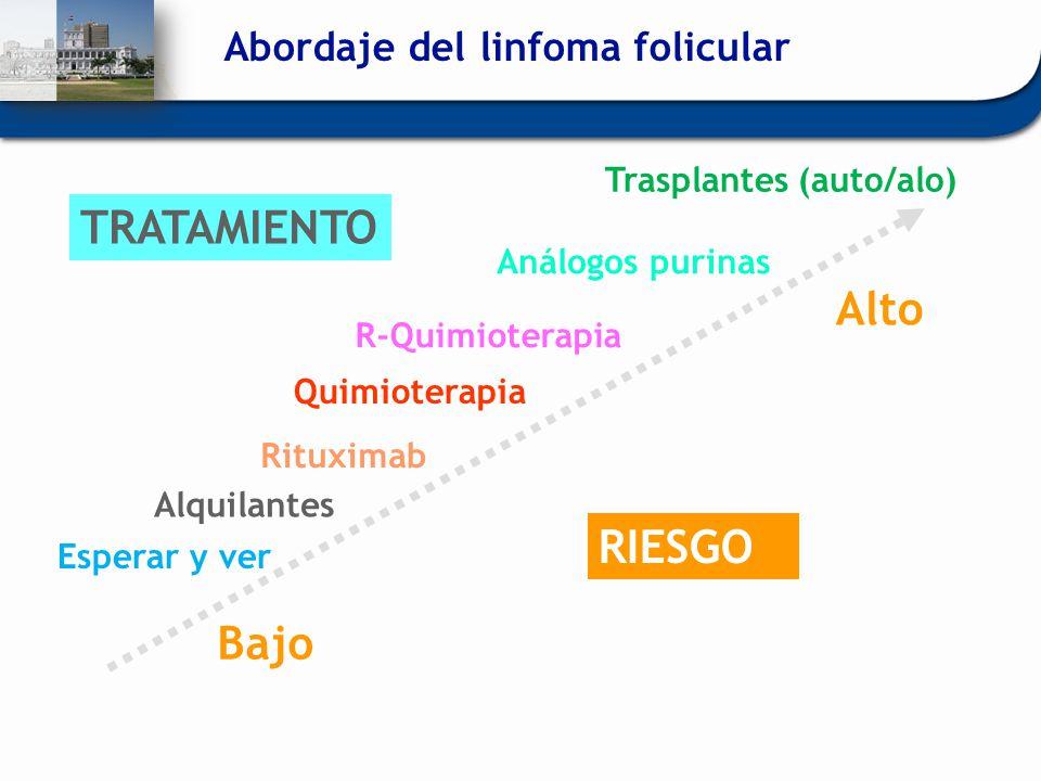Esperar y ver Alquilantes Quimioterapia Análogos purinas Trasplantes (auto/alo) RIESGO Bajo Alto TRATAMIENTO Rituximab R-Quimioterapia