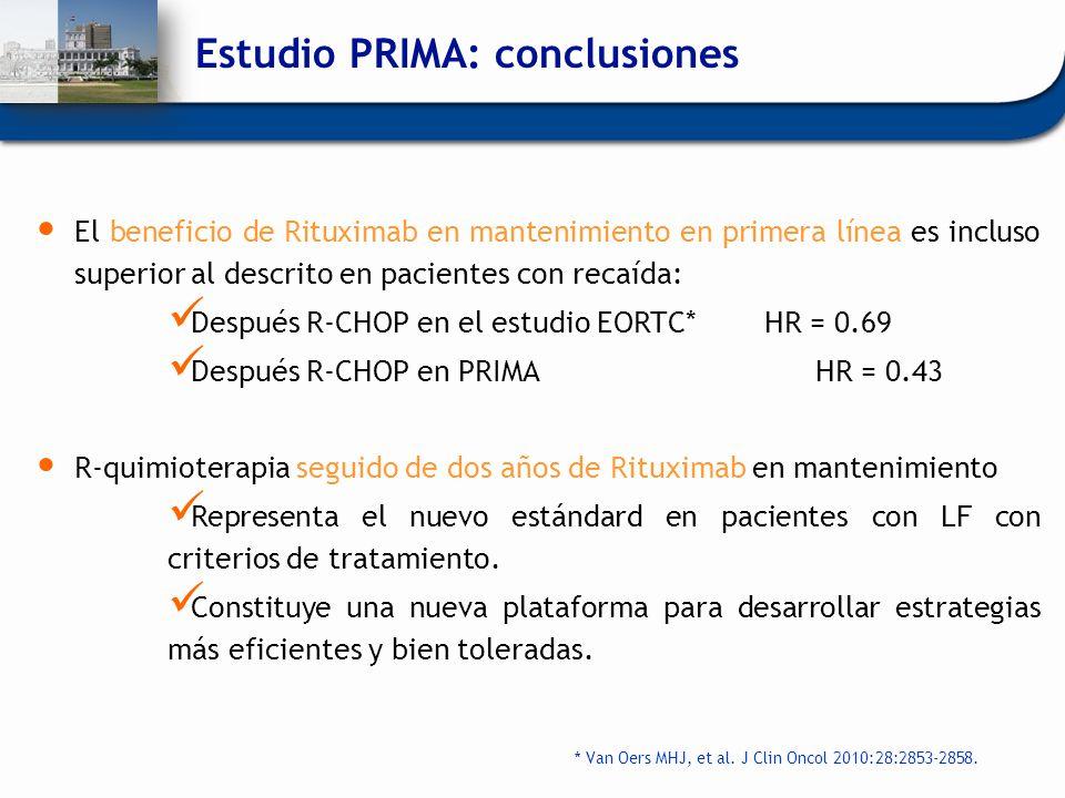 El beneficio de Rituximab en mantenimiento en primera línea es incluso superior al descrito en pacientes con recaída: Después R-CHOP en el estudio EOR