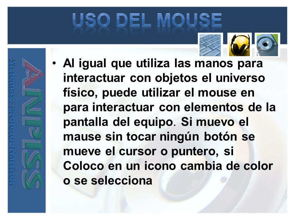 Al igual que utiliza las manos para interactuar con objetos el universo físico, puede utilizar el mouse en para interactuar con elementos de la pantal